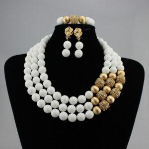 2020 Bridal Gift Nigerian Wedding African Beads Jewelry Set Fashion