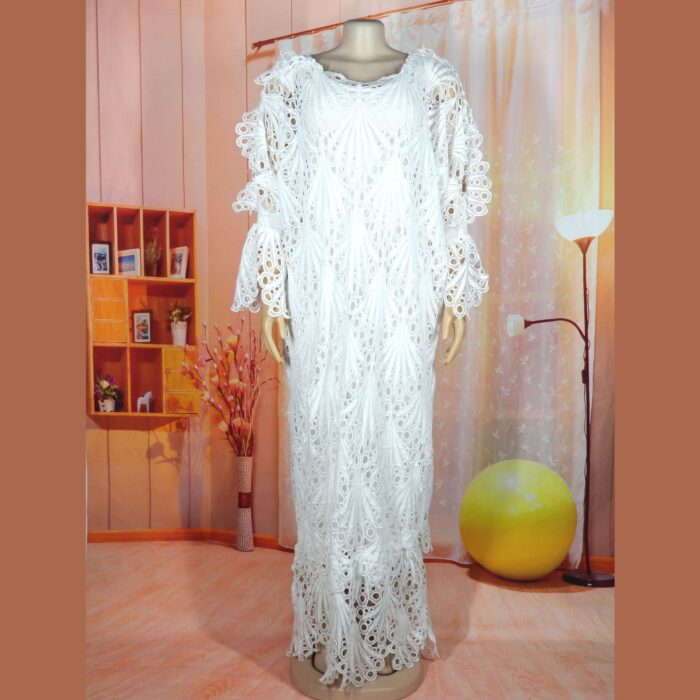 New fashion African women Dashiki Water-soluble lace loose long dress + Inside the skirt two piece free size