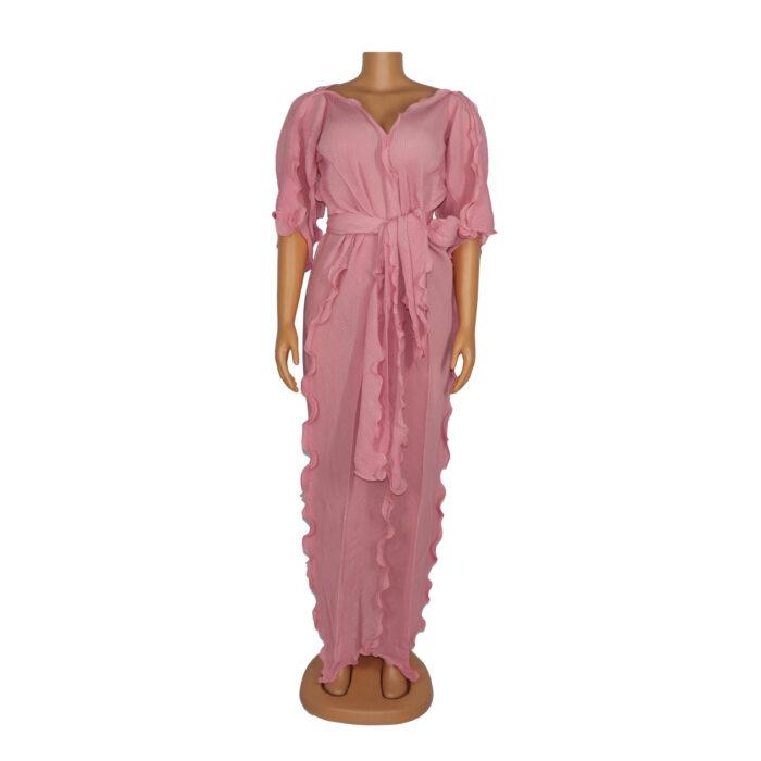 Hot selling long dress in chiffon fabric soft material women dress two piece free size